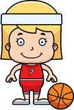 Cartoon Smiling Basketball Player Girl Royalty Free Stock Images