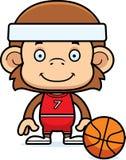 Cartoon Smiling Basketball Player Monkey Royalty Free Stock Image