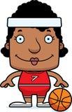Cartoon Smiling Basketball Player Woman Royalty Free Stock Photos