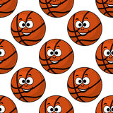 Cartoon smiling basketball seamless pattern Royalty Free Stock Photo