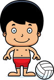 Cartoon Smiling Beach Volleyball Player Boy Royalty Free Stock Photos