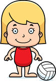 Cartoon Smiling Beach Volleyball Player Girl Stock Photo