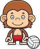 Cartoon Smiling Beach Volleyball Player Monkey Stock Photos