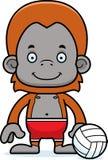 Cartoon Smiling Beach Volleyball Player Orangutan Royalty Free Stock Photography