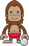 Cartoon Smiling Beach Volleyball Player Sasquatch Royalty Free Stock Image