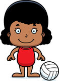 Cartoon Smiling Beach Volleyball Player Girl Stock Photography
