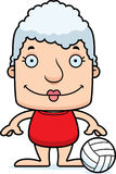 Cartoon Smiling Beach Volleyball Player Woman Stock Photos