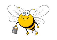 Cartoon smiling bee flying with honey bucket Stock Image