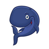 Cartoon smiling blue sperm whale character Royalty Free Stock Photo