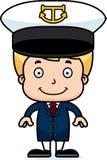 Cartoon Smiling Boat Captain Boy Stock Photography