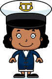 Cartoon Smiling Boat Captain Girl Stock Images