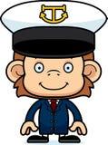 Cartoon Smiling Boat Captain Monkey Royalty Free Stock Images