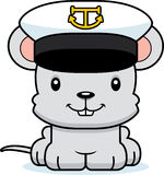 Cartoon Smiling Boat Captain Mouse Stock Images