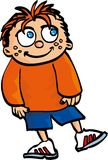 Cartoon smiling boy with red hair and freckles Stock Image