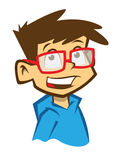 Cartoon smiling boy with spectacles Royalty Free Stock Image