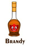 Cartoon smiling brandy bottle character Royalty Free Stock Images