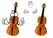 Cartoon smiling brown violin character Stock Photos
