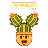 Cartoon smiling cacti-girl with phrase Hey! Whats up?! royalty free illustration