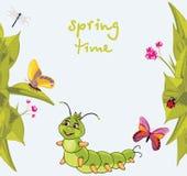 Cartoon smiling caterpillar among butterflies. Illustration Royalty Free Stock Photography