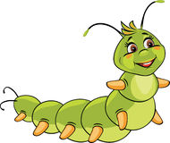 Cartoon smiling caterpillar. Isolated on white. Illustration Royalty Free Stock Photography