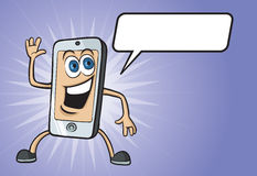 Cartoon smiling cell phone character. Vector illustration of cartoon funny cell phone character with speech balloon. Easy-edit layered vector EPS10 file scalable Royalty Free Stock Images