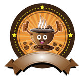 Cartoon smiling coffee cup banner Royalty Free Stock Photography