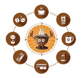Cartoon Smiling coffee and modern flat coffee icons set with long shadow effect Stock Photo