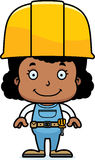 Cartoon Smiling Construction Worker Girl Stock Photos