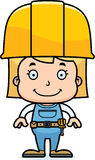 Cartoon Smiling Construction Worker Girl Stock Images