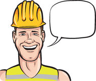 Cartoon smiling construction worker with speech bubble. Vector illustration of cartoon smiling construction worker with speech bubble. Easy-edit layered vector Stock Photo