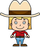 Cartoon Smiling Cowboy Girl. A cartoon cowboy girl smiling Royalty Free Stock Photo