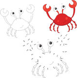 Cartoon smiling crab. Vector illustration. Dot to dot game for k Royalty Free Stock Image