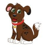 Cartoon smiling dark brown spotty puppy Royalty Free Stock Image