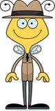 Cartoon Smiling Detective Bee Stock Image