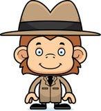 Cartoon Smiling Detective Monkey Royalty Free Stock Photos