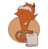 Cartoon smiling devil with contract paper Royalty Free Stock Image