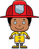 Cartoon Smiling Firefighter Boy Royalty Free Stock Image