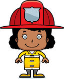 Cartoon Smiling Firefighter Girl Stock Photos