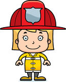 Cartoon Smiling Firefighter Girl Royalty Free Stock Photo