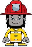 Cartoon Smiling Firefighter Gorilla Stock Photography