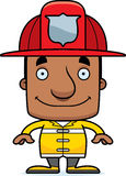 Cartoon Smiling Firefighter Man Stock Image