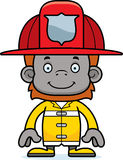 Cartoon Smiling Firefighter Orangutan Royalty Free Stock Photo