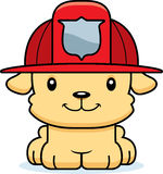Cartoon Smiling Firefighter Puppy Stock Photography