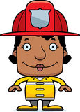 Cartoon Smiling Firefighter Woman Royalty Free Stock Image