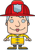 Cartoon Smiling Firefighter Woman Royalty Free Stock Images
