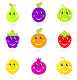 Cartoon smiling fruit characters icon set. Stock Image