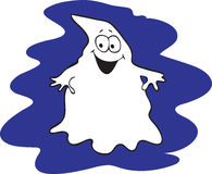 Cartoon smiling Ghost. Cartoon illustration of a smiling friendly white halloween ghost with a dark blue background Royalty Free Stock Images