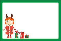 Cartoon smiling girl character wearing Christmas horns headband. Kid standing with new year gift boxes. Frame design template for. Photos, children diplomas stock illustration