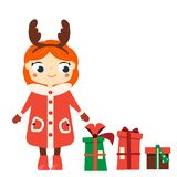 Cartoon smiling girl character wearing Christmas horns headband. Kid standing with new year gift boxes. R. Vector illustration for winter holidays, children stock illustration