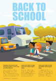 Cartoon smiling girls crossing road along crosswalk in front of stopped bus and car. Traffic safety education for primary schools Royalty Free Stock Image